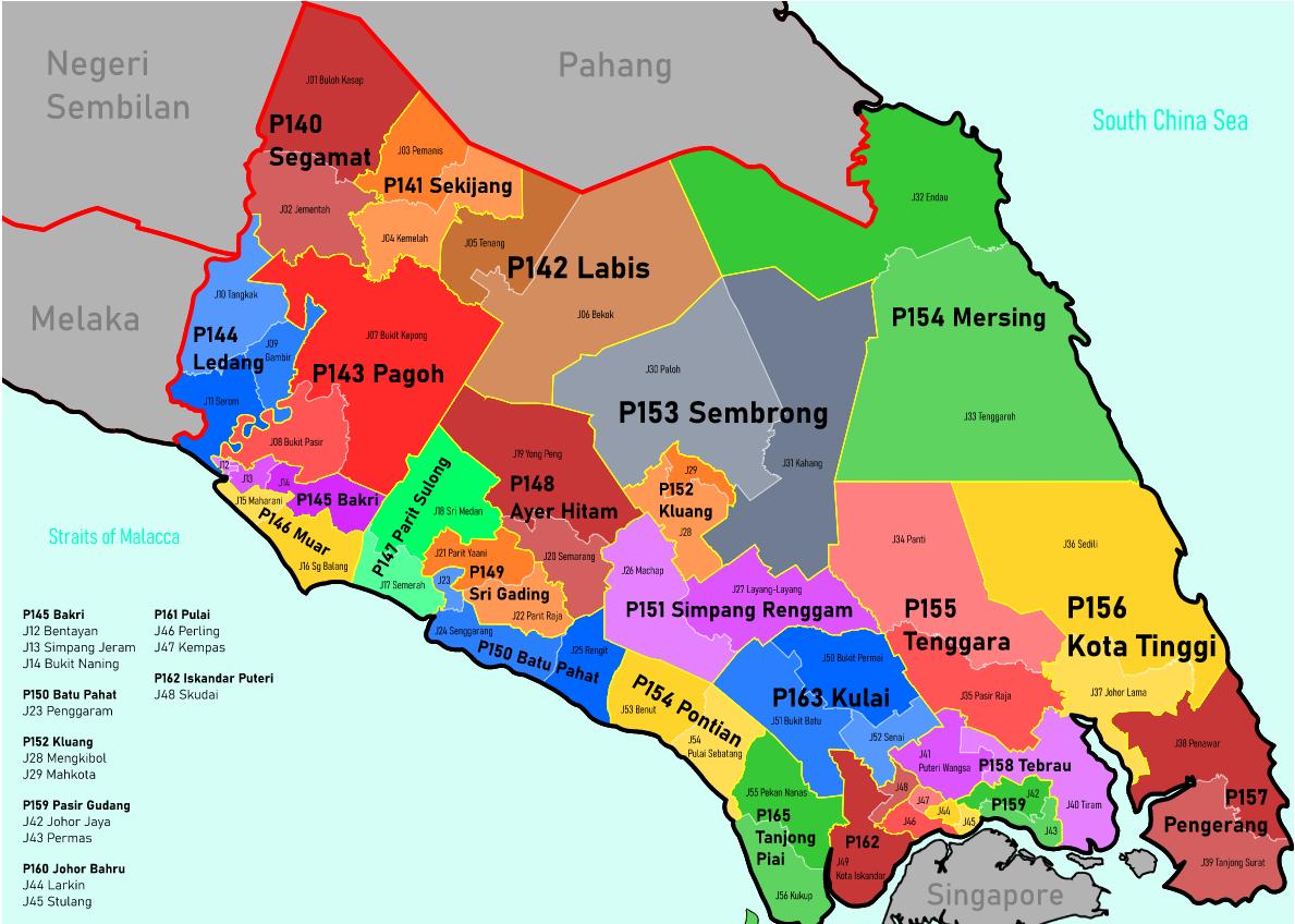 Peta Parlimen Sukan Makmur XTIF Johor 2021